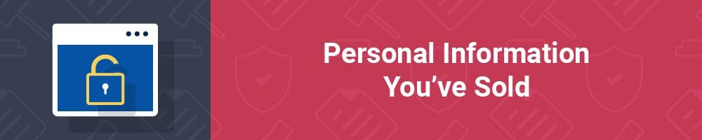 Personal Information You've Sold