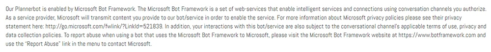 PlannerBot Privacy Policy: Microsoft Bot Framework disclosure