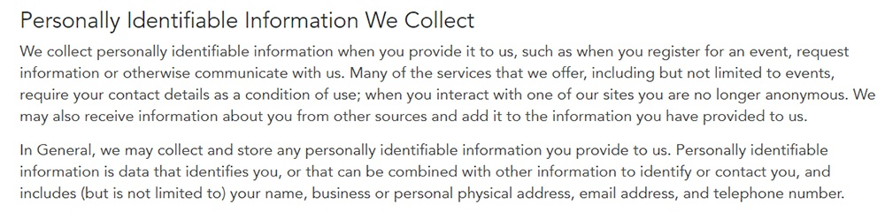 Quartz Privacy Policy: Personally Identifiable Information We Collect clause