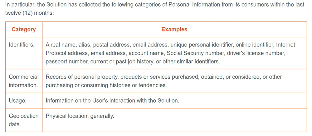 Vertafore Privacy Statement: Categories of Personal Information Collected chart excerpt