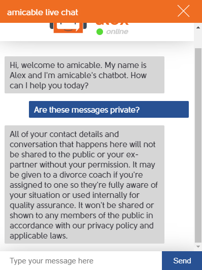 Amicable: Screenshot of chatbot Privacy Policy information