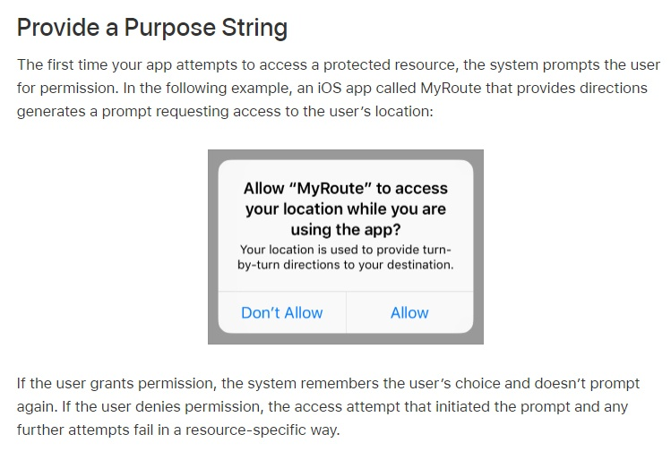 Apple: Accessing Protected Resources - Provide a Purpose String section