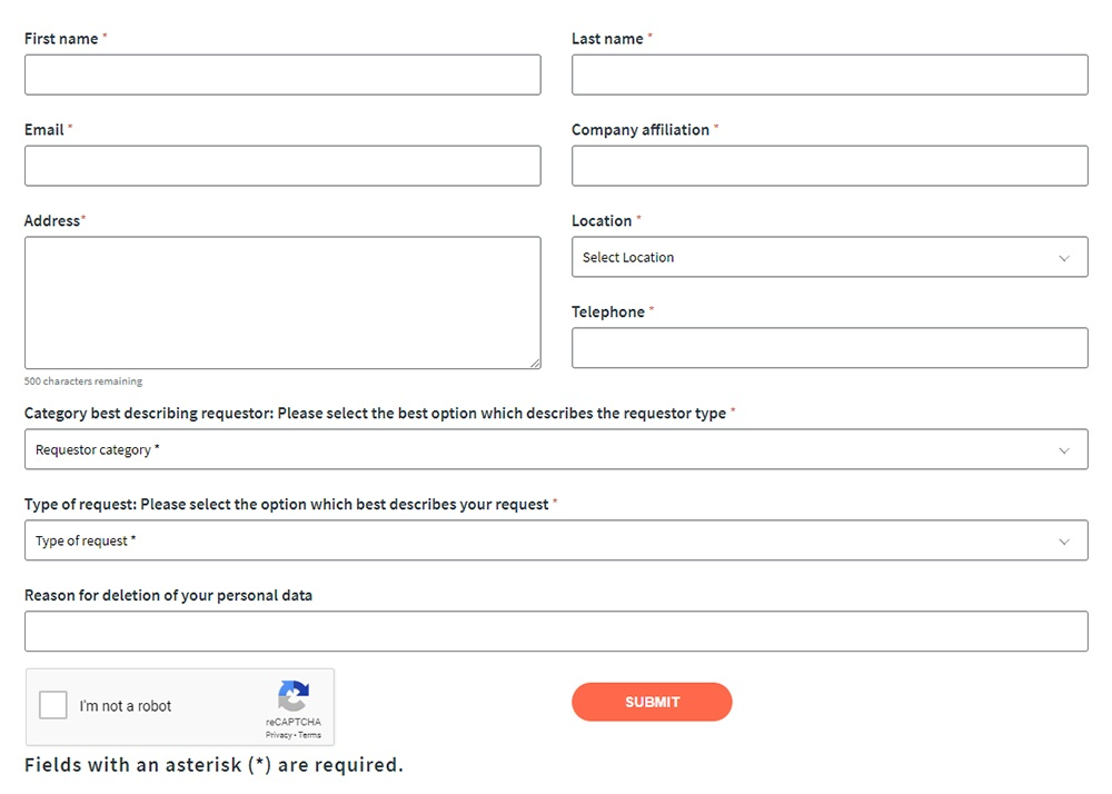 CWT Subject Access Request Form screenshot