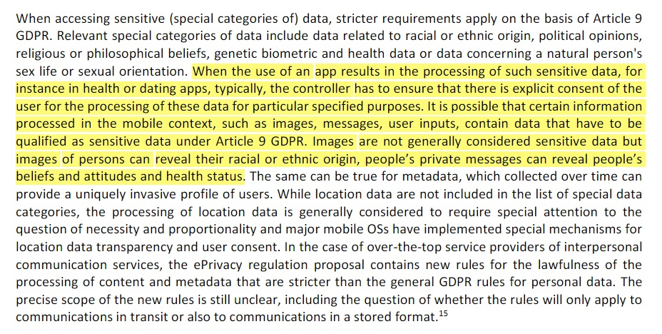 enisa: Privacy and Data Protection in Mobile Apps: Section on consent and sensitive information