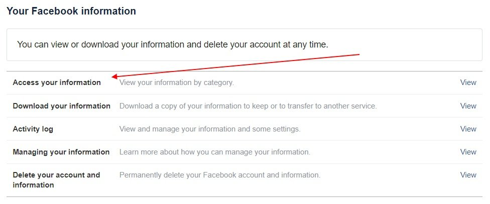 Facebook Account Controls: Access Your Information option highlighted