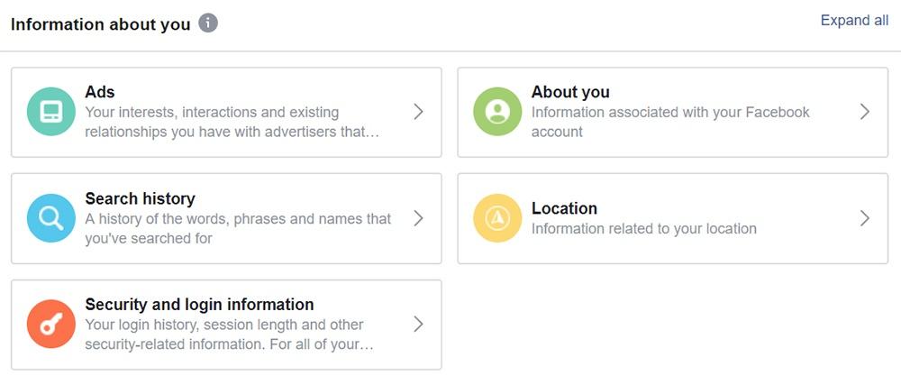 Facebook: Information About You menu screenshot