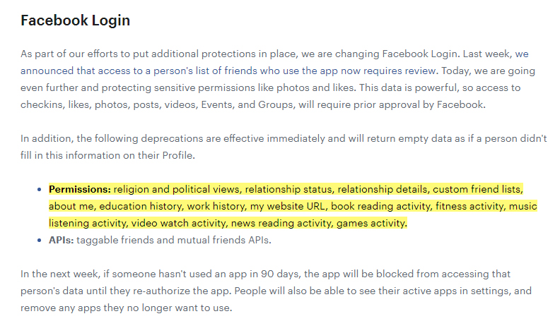 Facebook News for Developers: Requirements for Facebook login - Sensitive personal data permissions