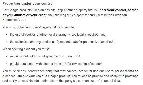 Google EU User Consent Policy: Properties under your control clause