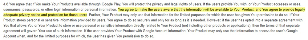 Google Play Developer Distribution Agreement: Privacy Policy requirement highlighted