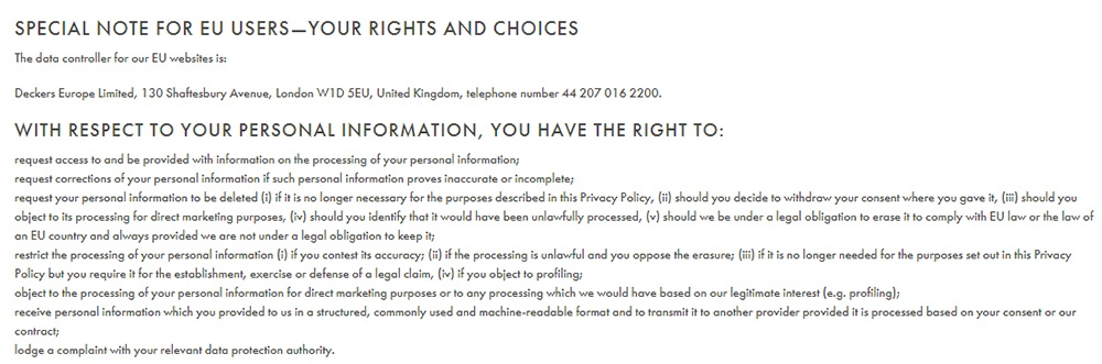 Hoka One One Privacy Policy: Special Note for EU Users - Your Rights and Choices clause excerpt