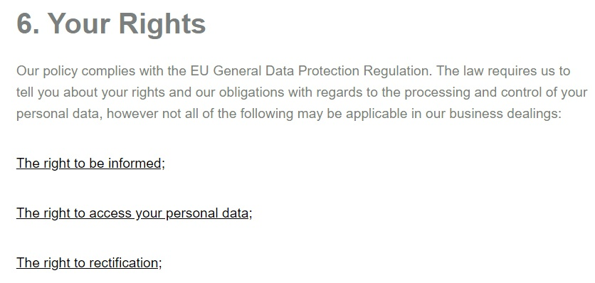 Homelyfe Privacy Policy: Your Rights - GDPR clause excerpt