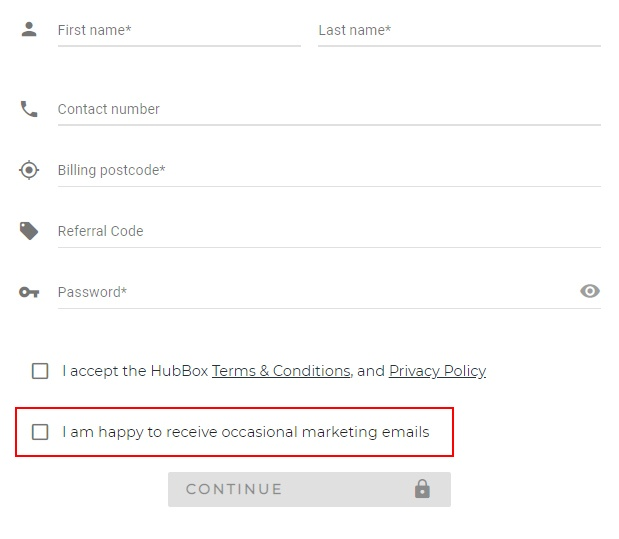 HubBox: Create account form with consent checkbox for marketing emails highlighted