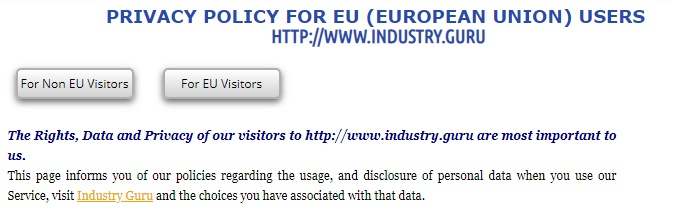 Industry Guru Privacy Policy for EU Users: Intro and Policy options section