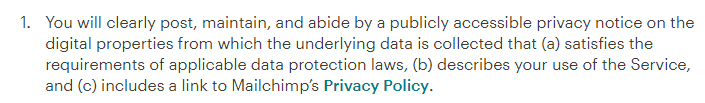 Mailchimp Terms of Use: EEA Requirement for Privacy Policy clause