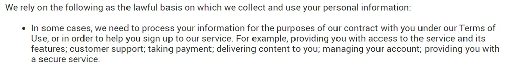 Perlego Privacy Policy: Lawful basis to collect and use information clause excerpt