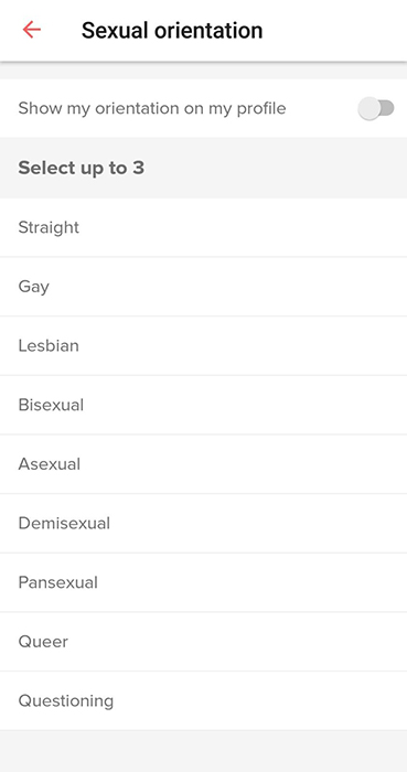 Tinder app: Sexual orientation screen