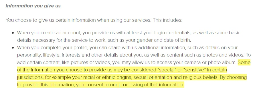 Tinder Privacy Policy: Sensitive information clause excerpt