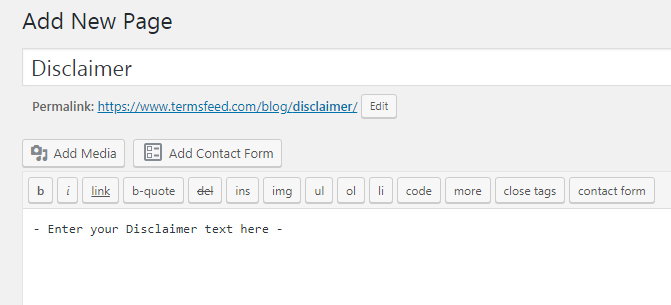 WordPress Add New Page field with Disclaimer title - Screenshot