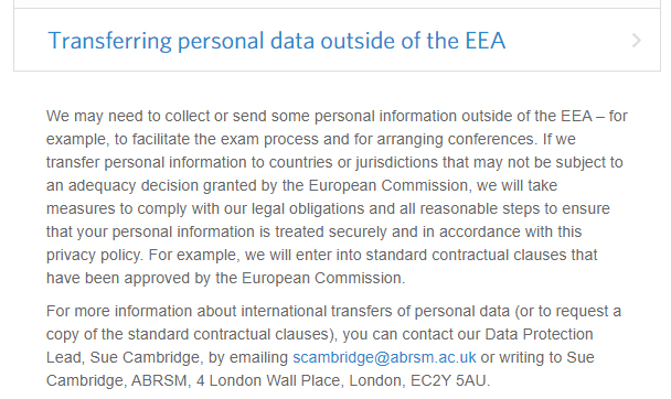 ABRSM Privacy Policy: Transferring personal data outside of the EEA