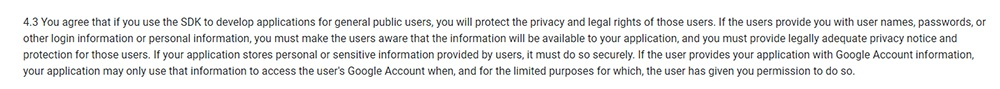 Android Developer Terms and Conditions: Clause to agree to protect the privacy and legal rights of users