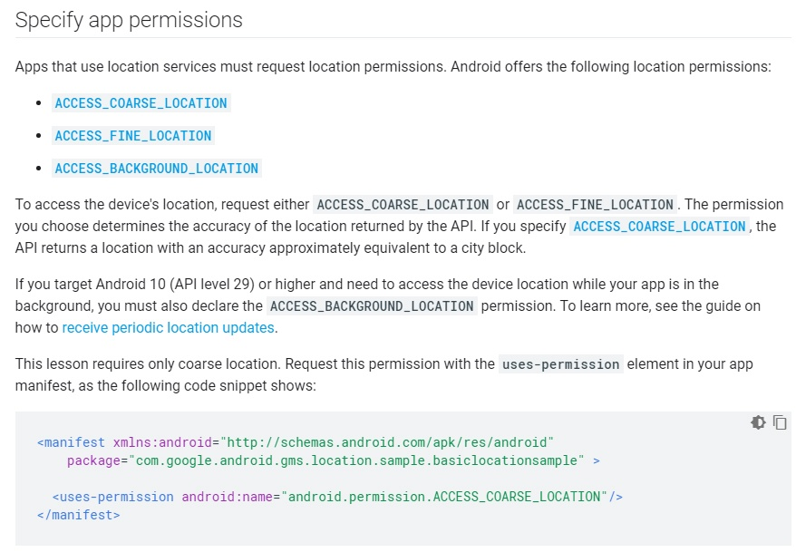 Android Developers documentation: Guidance to specify app permissions for location