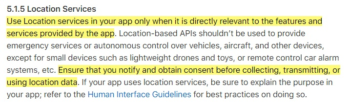 Apple App Store Review Guidelines: Legal - Location Services clause
