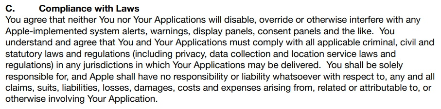 Apple SDK Agreement: Compliance with Laws clause