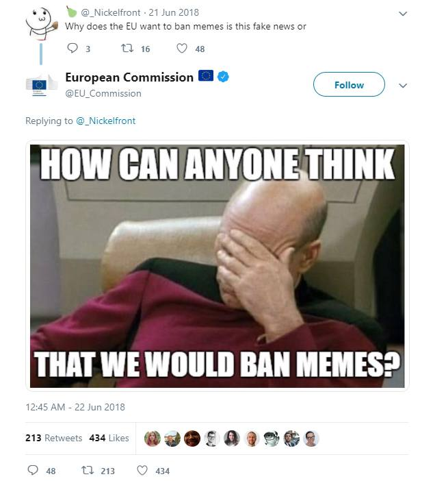 EU Commission Twitter: Screenshot of its meme tweet