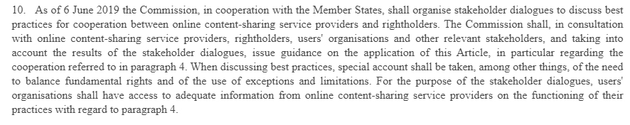EU Copyright Directive Article 17 Section 10