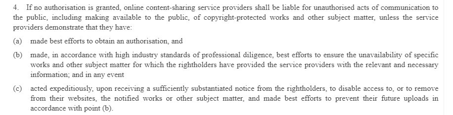 EU Copyright Directive Article 17 Section 4 - Avoiding liability