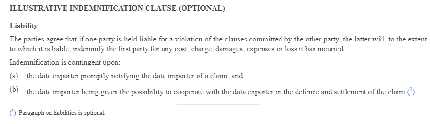 EUR-Lex Commission Decision 2010 87 EU: SCC - Transfer of personal data to third countries - Illustrative Indemnification Clause - Optional Liability