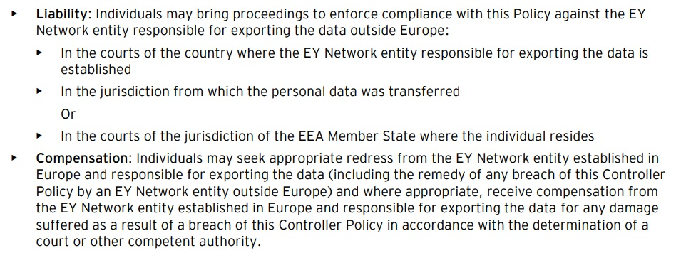 EY Group Data Protection BCRs Controller Policy: Liability and Compensation sections