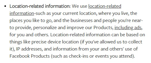 Facebook Data Policy: How we use location-related information clause