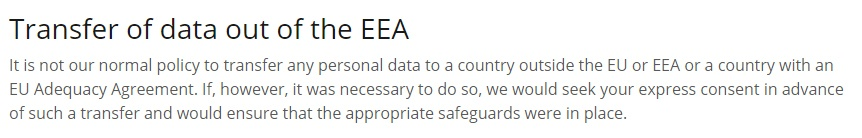 Friendly Homecare Privacy Policy: Transfer of data out of the EEA clause
