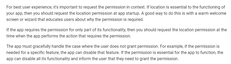 Google Maps Platform documentation: Request runtime permissions - Location section