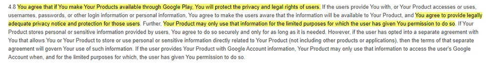Google Play Developer Distribution Agreement: Clause requiring protecting privacy rights and providing privacy notice