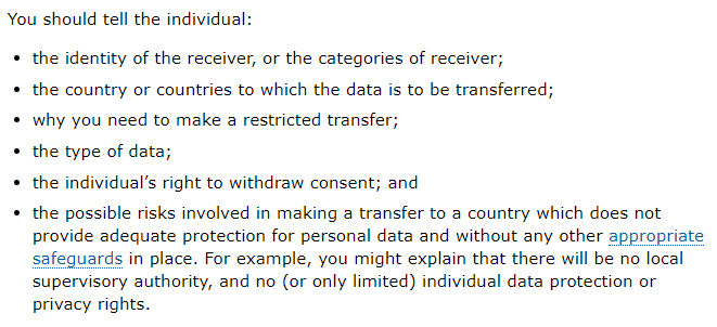 ICO: International Transfers Guidance on consent exception disclosures
