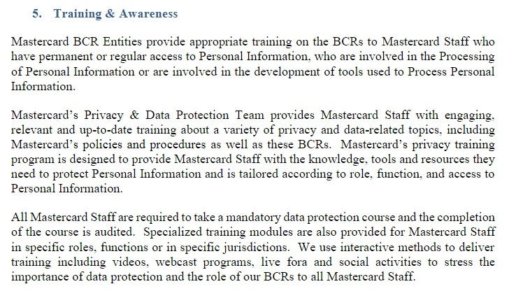 Mastercard BCRs Training and Awareness section