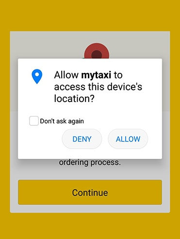 MyTaxi app: Access location permissions screen with allow and deny options