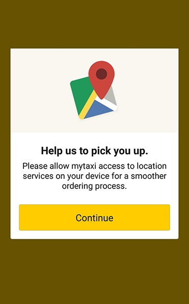 MyTaxi app: Continue - Access location permissions screen