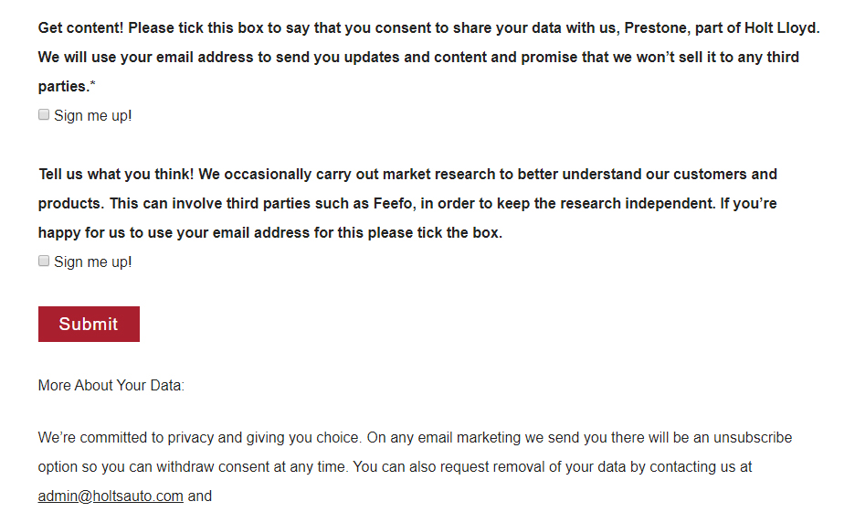 Prestone email sign-up with checkboxes for granular consent