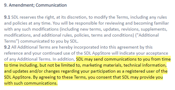 SDL AppStore Terms and Conditions: Amendment Communication clause