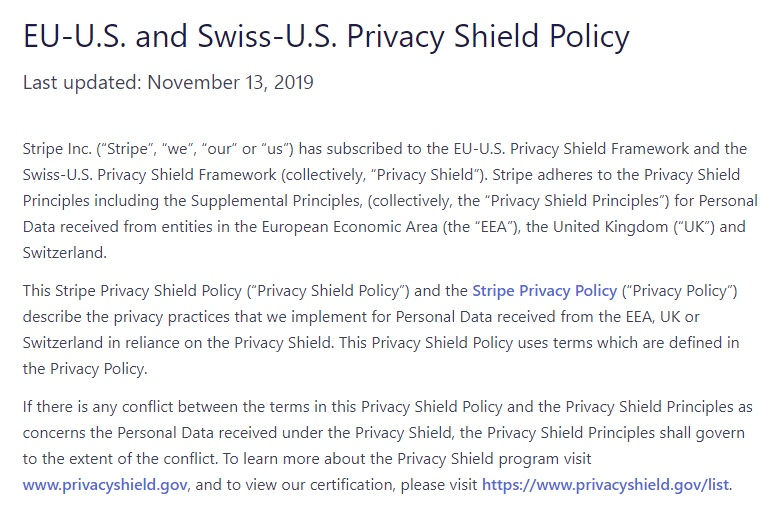 Stripe: EU-US and Swiss-US Privacy Shield Policy: Intro section