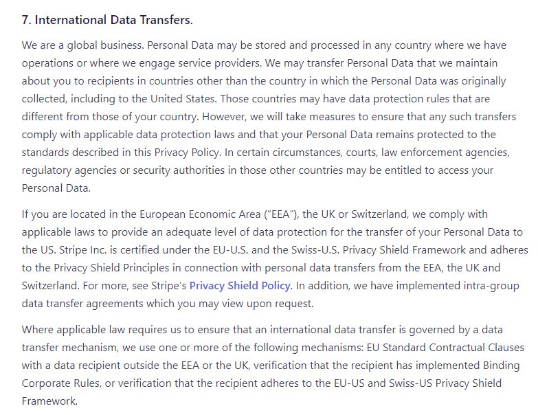 Stripe Global Privacy Policy: International Data Transfers clause