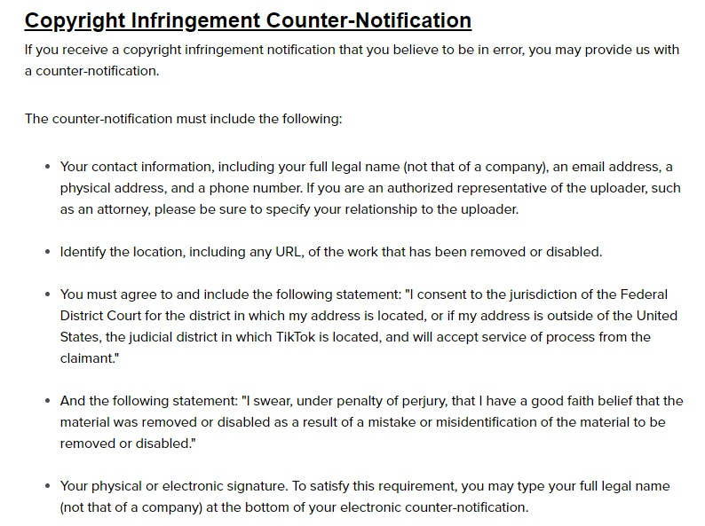 TikTok Copyright Policy: Copyright Infringement Counter-Notification Instructions
