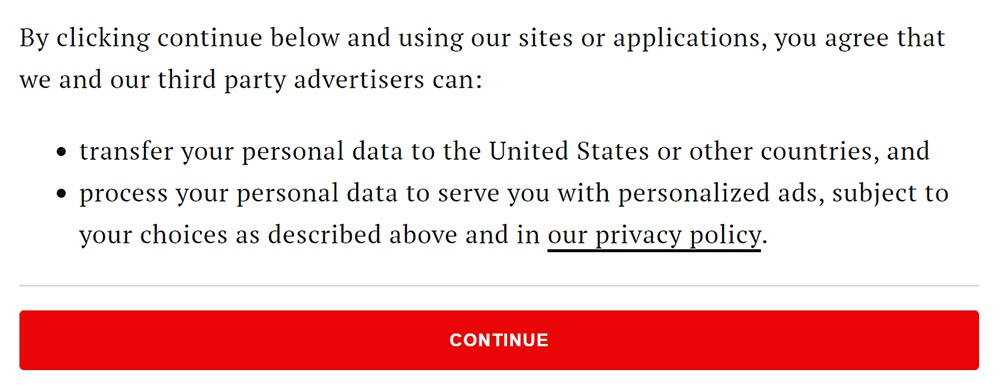 Time Cookie Wall consent notice to agree to personalized ads and transfer of data