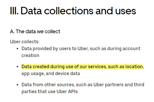 Uber Privacy Notice: Data collections and uses summary with location data highlighted