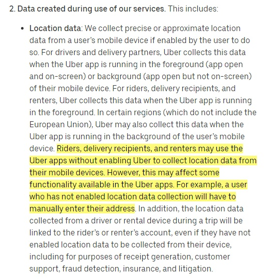Uber Privacy Notice: Data created during use of services clause - Location section