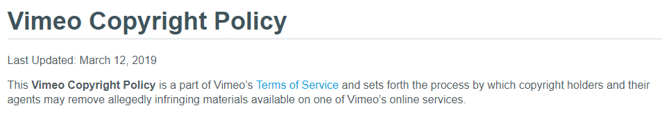Vimeo Copyright Policy: Intro statement