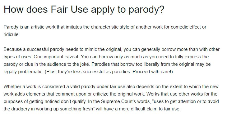 Vimeo Help Center: Section about how Fair Use applies to parody